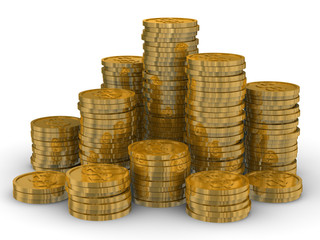Column of golden coins isolated on white. 3D image