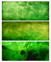 green grunge banners