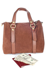 Brown handbag with two passports and money