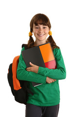 Student with backpack isolated on white