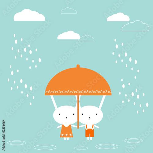 Obraz Two bunnies under umbrella