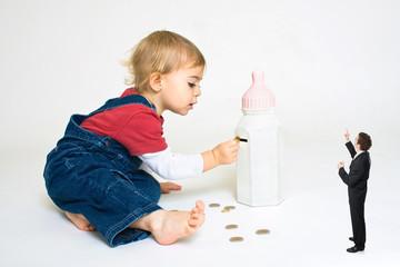 crise économiser argent crise enfant banquier projet pièce