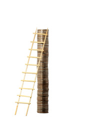 Wooden ladder near coin column isolated on white