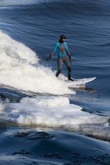 Female surfer riding wave