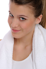 Portrait of woman with fitness towel