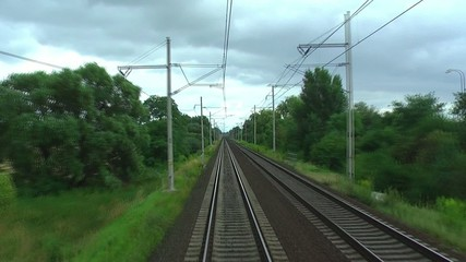 Railroad tracks in motion