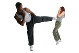 Attractive Interracial Couple Sparring poster