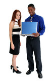 Interracial Couple with Laptop poster