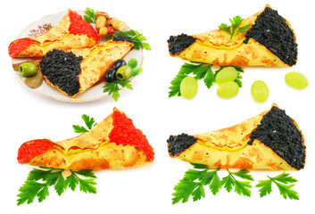 Set of dishes with caviar-stuffed pancakes isolated