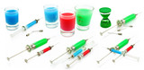 Set of syringes and vessels with toxic substance isolated poster