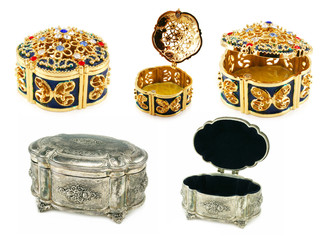 Set of silver and gold jewel boxes isolated