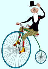 grandfather drive old bicycle on blue background