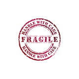 Vector fragile stamp with red ink poster