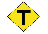 T junction yellow sign poster