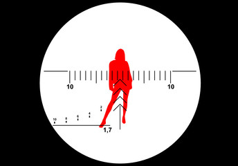 Sniper rifle sight with female silhouette as a target