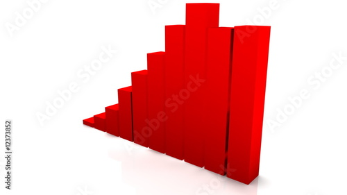 3D grow up red chart - Full HD