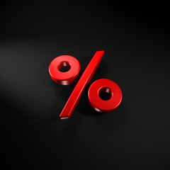 3d rendering of a percentage sign on a black background.