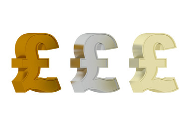 British pound sign - Three precious metals