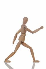 wooden figure walking