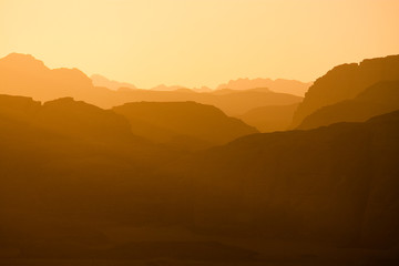 Wadi Rum - distant Hills in Sunset