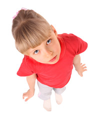 Portrait of girl in red t-shirt.