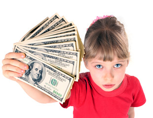 Girl in red sport t-shirt with money. Angle.