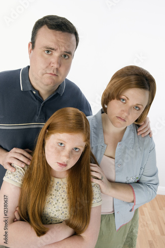 Portrait of sad family