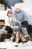 Winter campfire poster