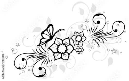 papier peint trois fleur et papillons noirs floral. Black Bedroom Furniture Sets. Home Design Ideas