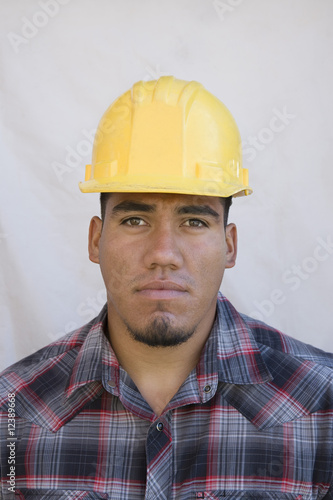 Construction worker wearing hard hat
