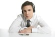Businessman break in office music headphones