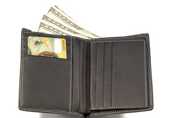 opened black leather wallet with money