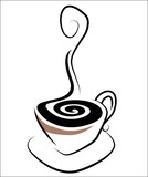 Stylistic Illustration of a Steaming Cup of Coffee poster