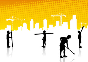 Construction surveyors and construction site background