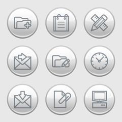 Gray disk web icons, set 27
