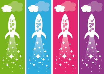 Flying rocket ships. Vector illustration.