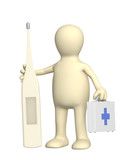 3d puppet veterinary with a thermometer poster