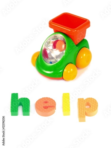 Help sign and children toy car, isolated.