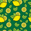 roleta: Seamless green pattern with cute lemons
