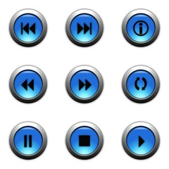 aqua blue web buttons with metalic ring