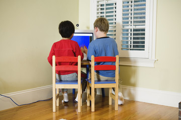 Rear view of two boys operating computer.