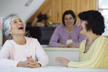 Cheerful women in a conversation.