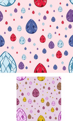 seamless jewel backgrounds - vector illustrations