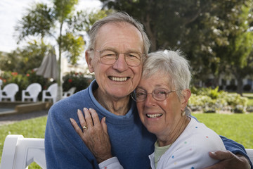 Portrait of a senior couple in a park.