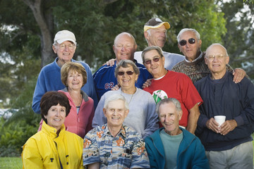 Portrait of a group of senior men and senior women.