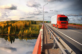 sunset trucking, bridge over Saima channel, Baltic sea poster
