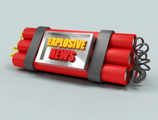 the most explosive news represented by a baited bomb.