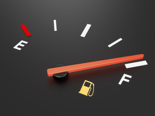 A closeup of a car fuel gauge showing full