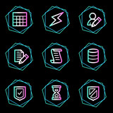 Database web icons, neon contour series poster