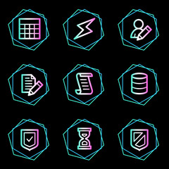Database web icons, neon contour series